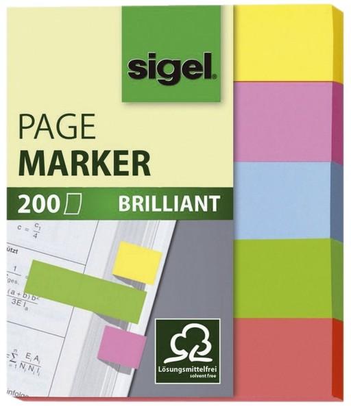 SIGEL Haftmarker Brillant - 50 x 12 mm, 5 Farben, 200 Streifen