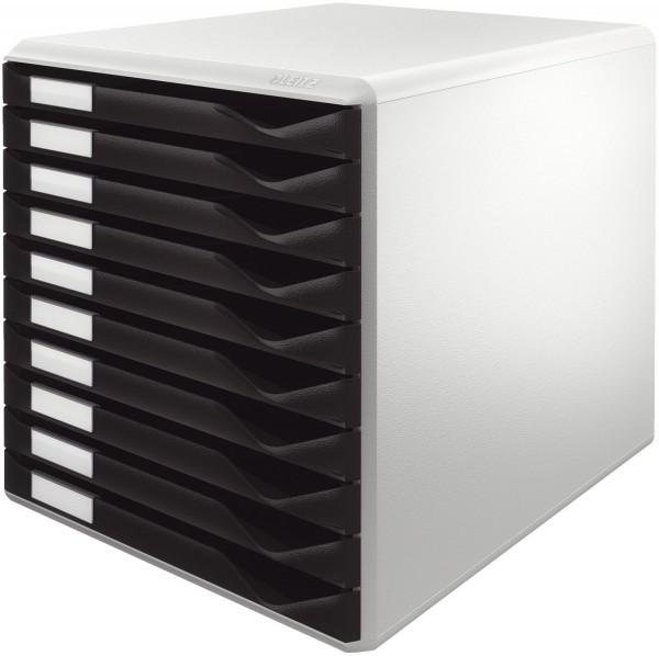 Leitz 5281 Schubladenset Formular-Set - A4/C4, 10 geschlossene Schubladen, lichtgrau/schwarz