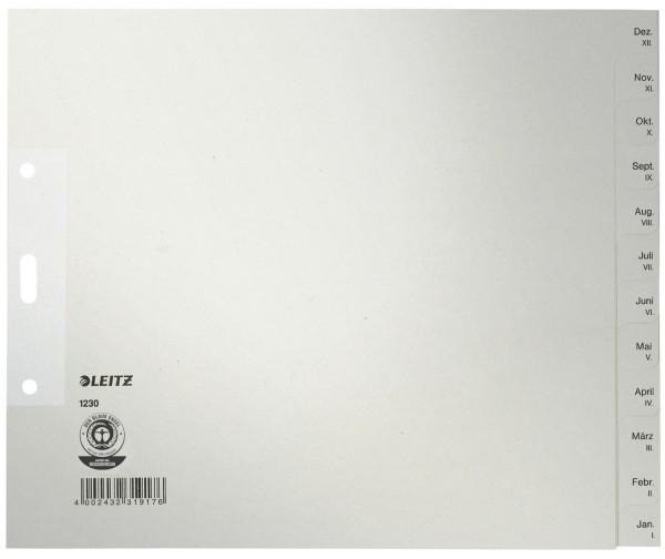 Leitz 1230 Monatsregister - Dez-Jan, Papier, A4 Überbreite, 20 cm hoch, 12 Blatt, grau