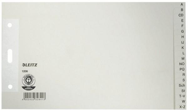 Leitz 1206 Papierregister A - Z - A5 quer, Überbreit, 100 g/qm, 20 Blatt, grau
