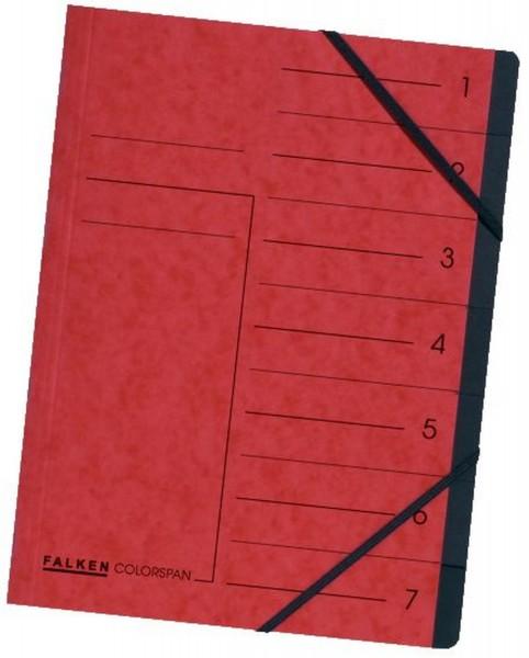 Falken Ordnungsmappe - 7 Fächer, A4, Colorspan-Karton 355 g/qm, rot