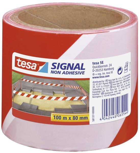 tesa® Absperrband - nicht klebend - rot/weiß - 80 mm x 100 m