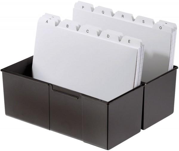 HAN Karteibox DIN A6 quer, für 400 Karten mit Stahlscharnier, schwarz
