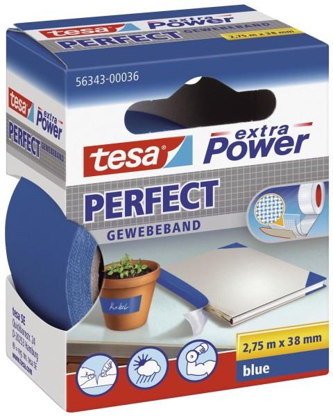 tesa® Gewebeklebeband extra Power Gewebeband, 2,75 m x 38 mm, blau