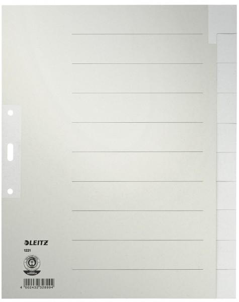 Leitz 1221 Register - Tauenpapier, blanko, A4 Überbreite, 10 Blatt, grau