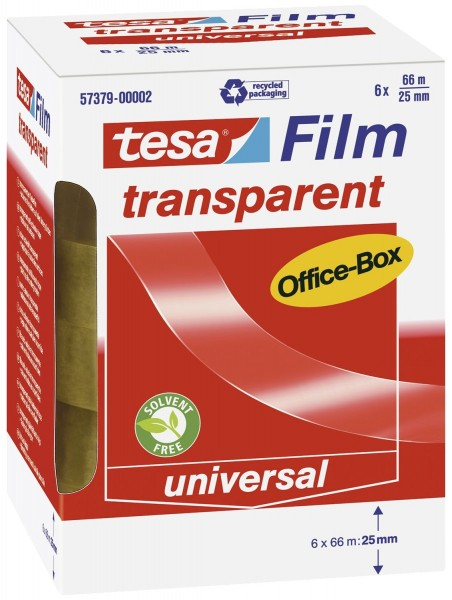 tesa® Klebefilm Office Box - transparent 6 St., Bandgröße (L x B): 66 m x 25 mm