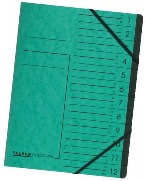 Falken Ordnungsmappe - 12 Fächer A-Z, A4, Colorspan-Karton 355 g/qm, grün
