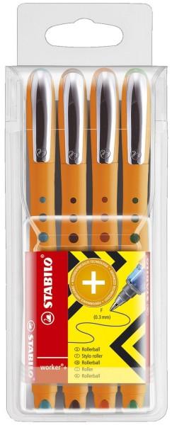 Stabilo® Tintenroller worker® fine, 0,3 mm, Kunststoffetui mit 4 Stiften