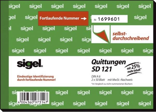 Sigel® Quittungen mit Sicherheitsdruck - A6 quer, SD, MP, 2 x 50 Blatt