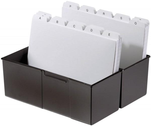 HAN Karteibox DIN A7 quer, für 300 Karten mit Stahlscharnier, schwarz