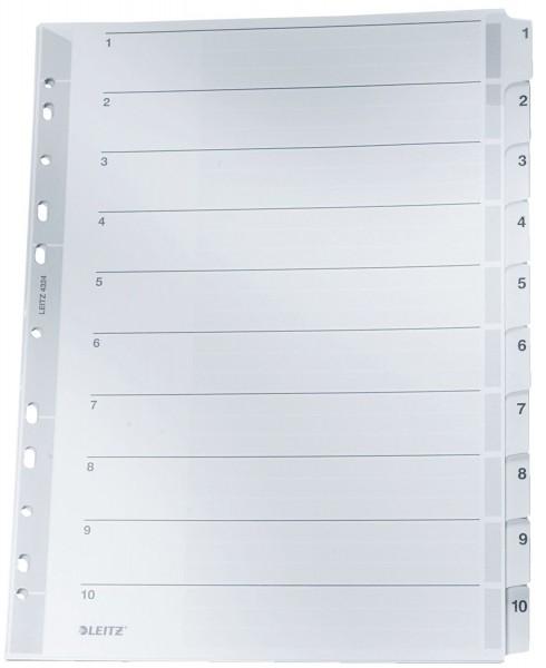 Leitz 4324 Zahlenregister - 1-10, A4, Karton, 10 Blatt, grau