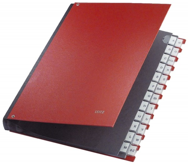 Leitz 5924 Pultordner A-Z, 24 Fächer, PP, rot