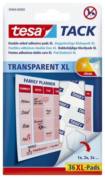 tesa® Klebestrips Tack - 36 Pads XL, ablösbar, transparent