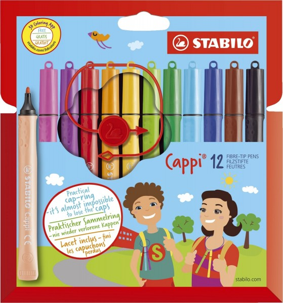 Stabilo® Filzstift mit Kappenring Cappi® - Kartonetui mit 12 Stiften