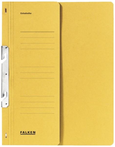 Falken Einhakhefter A4 1/2 Vorderdeckel kfm. Helfung, gelb, Manilakarton, 250 g/qm