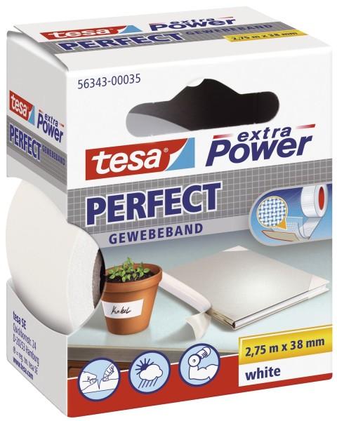 tesa® Gewebeklebeband extra Power Gewebeband, 2,75 m x 38 mm, weiß