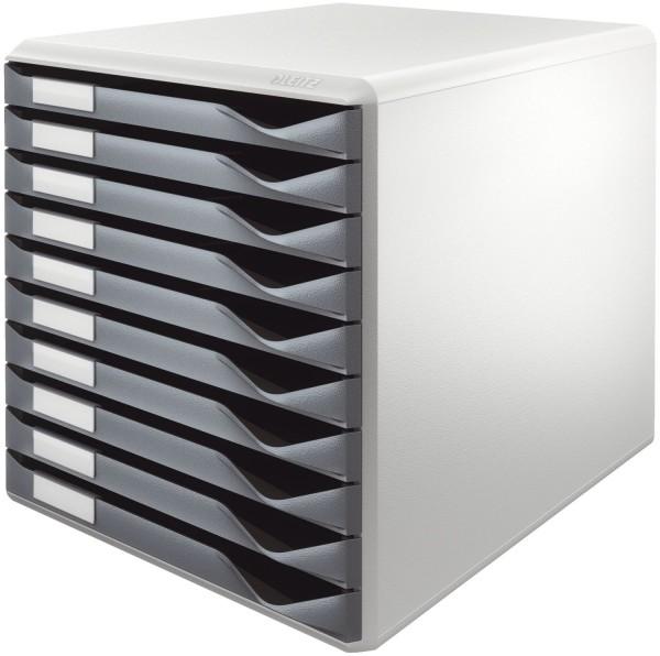 Leitz 5281 Schubladenset Formular-Set - A4/C4, 10 geschlossene Schubladen, lichtgrau/dunkelgrau