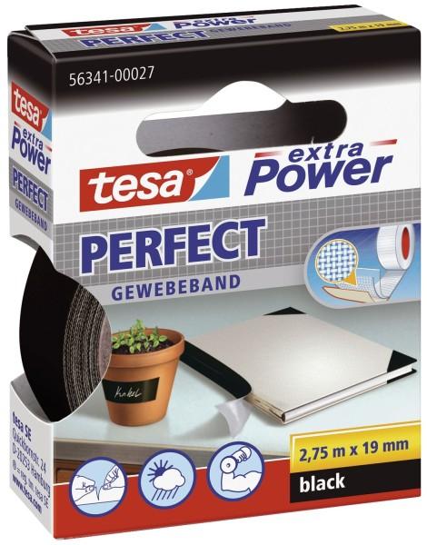 tesa® Gewebeklebeband extra Power Gewebeband, 2,75 m x 19 mm, schwarz
