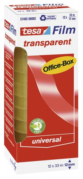 tesa® Klebefilm Office Box - transparent 12 St., Bandgröße (L x B): 33 m x 12 mm