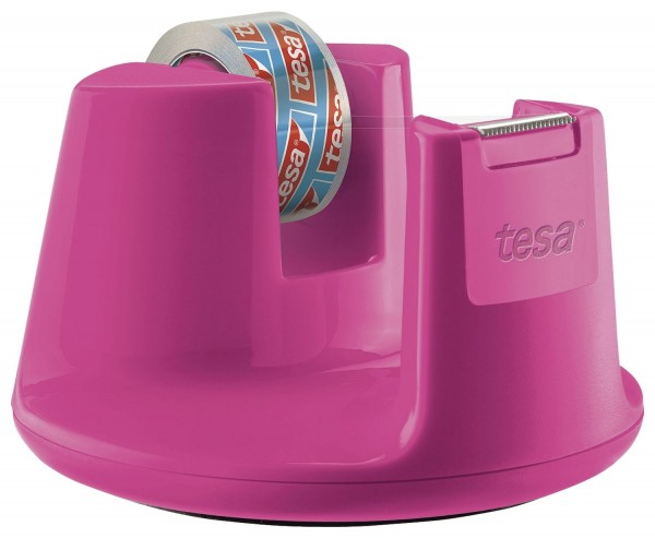 tesa® Tischabroller Easy Cut Compact - für Rollen bis 15 mm x 10 m, pink
