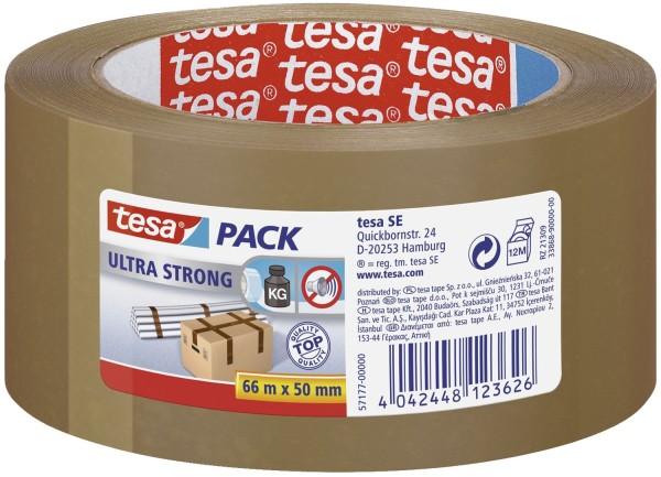 tesa® Verpackungsklebeband tesapack® Ultra Strong, PVC, 66 m x 50 mm, braun
