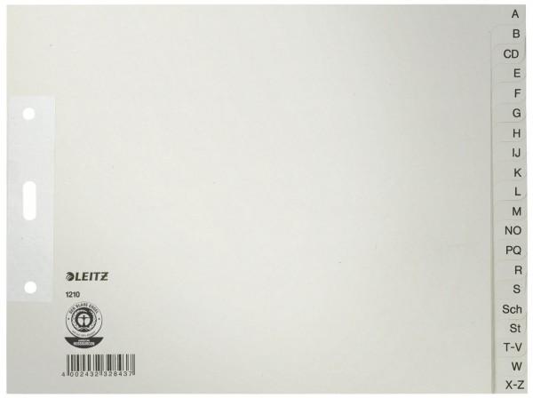 Leitz 1210 Register - A - Z, Papier, A4 Überbreite, halbe Höhe, 20 Blatt, grau