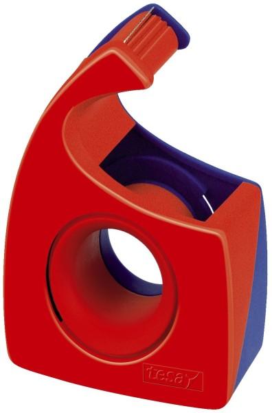 tesa® Handabroller für Klebefilm - tesa Easy Cut®, 10 m x 19 mm, rot/blau