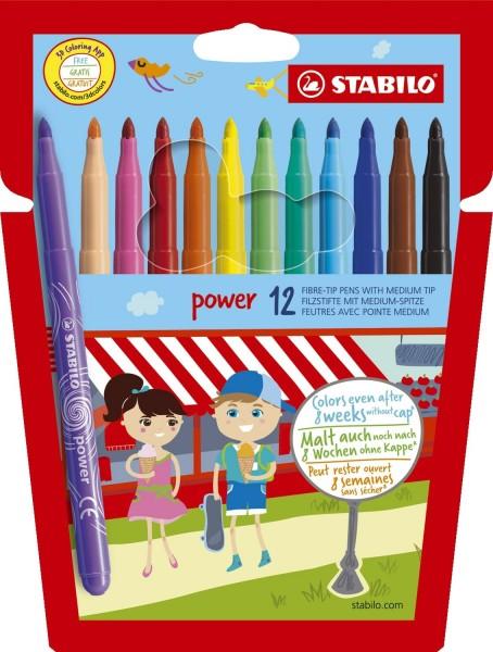 Stabilo® power Filzstift - Kartonetui mit 12 Stiften
