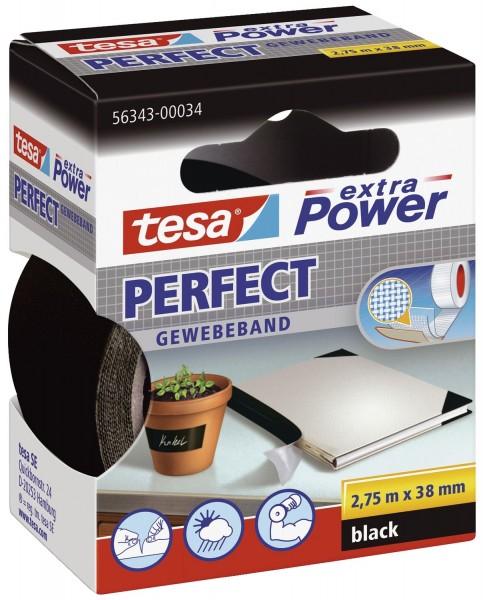 tesa® Gewebeklebeband extra Power Gewebeband, 2,75 m x 38 mm, schwarz