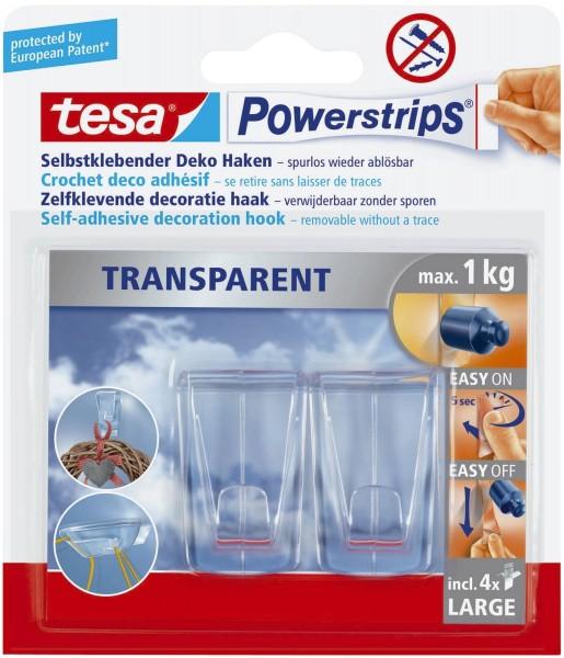 tesa® Powerstrips® Deco-Haken XL - ablösbar, Tragfähigkeit 1 kg, transparent