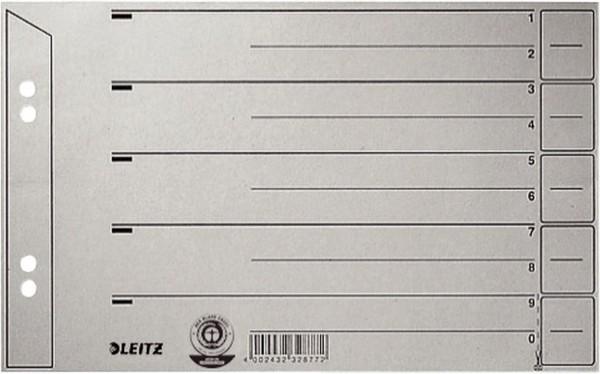 Leitz 1656 Trennblätter - Lochung hinterklebt, Überbreite, A5 quer, grau, 100 Stück