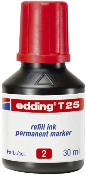 Edding T 25 Nachfülltusche für Permanentmarker, 30 ml, rot