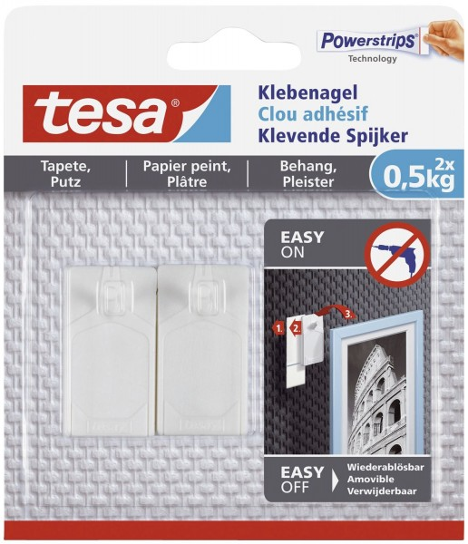 Tesa® Powerstrips® Klebenagel - ablösbar, Tragfähigkeit 500 g, weiß, 2 Stück