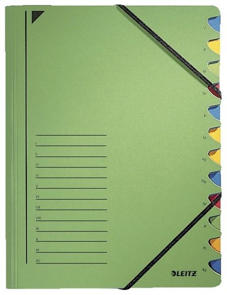 Leitz 3912 Ordnungsmappe - 12 Fächer, A4, Pendarec-Karton (RC), 430 g/qm, grün
