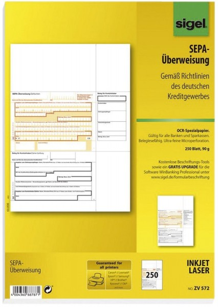 SIGEL PC-SEPA-Überweisung, Gültig für alle Banken und Sparkassen, 250 Stück