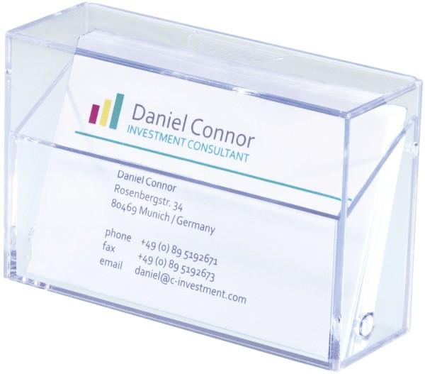 SIGEL Visitenkarten-Box, glasklar, für bis zu 100 Karten (max. 86x56 mm)