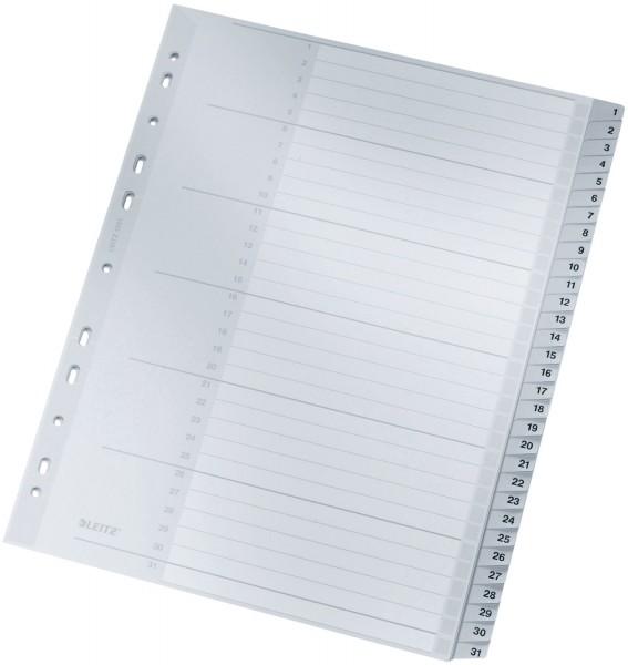 Leitz 1281 Zahlenregister - 1-31, PP, A4 Überbreite, 31 Blatt, grau