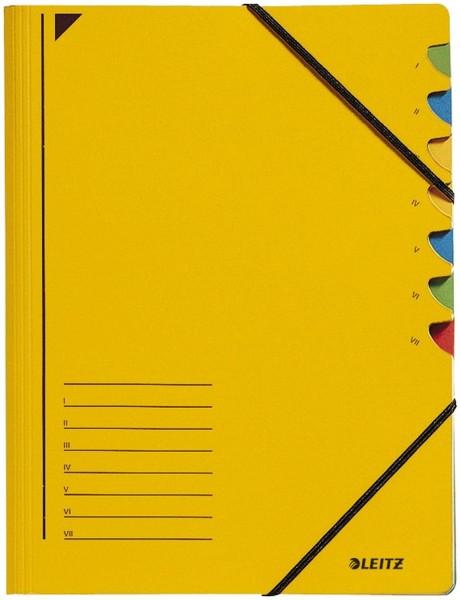 Leitz 3907 Ordnungsmappe - 7 Fächer, A4, Pendarec-Karton (RC), 430 g/qm, gelb